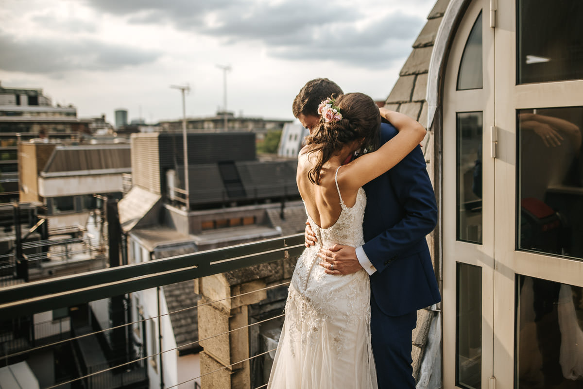 city london wedding bride and groom hugging