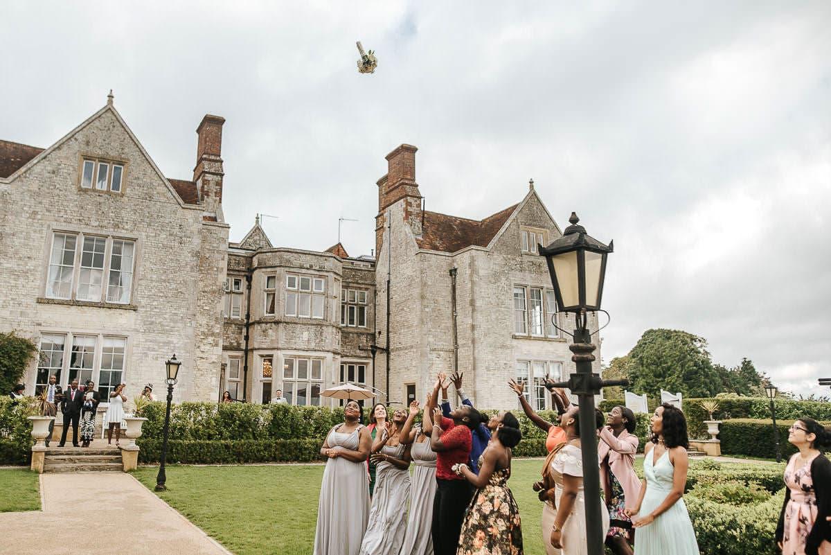 froyle park wedding bouquet toss