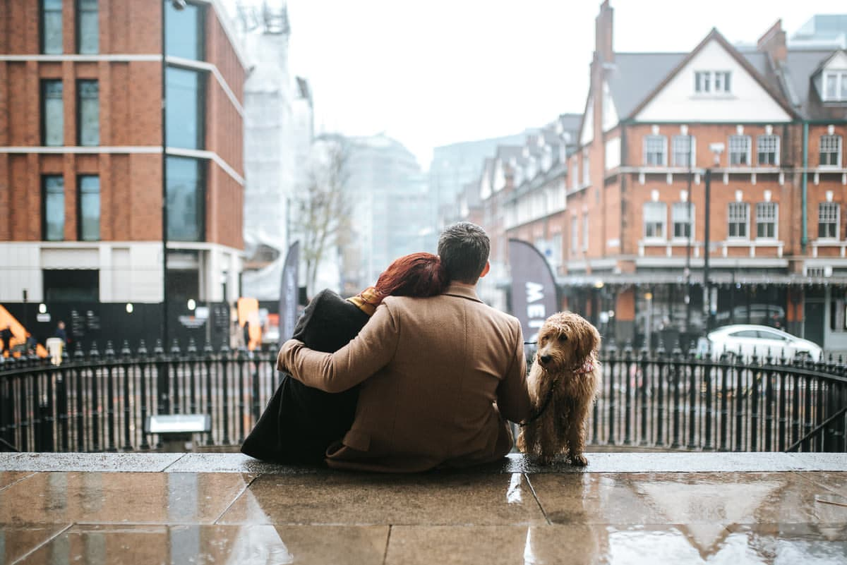 east london wedding photography with a dog