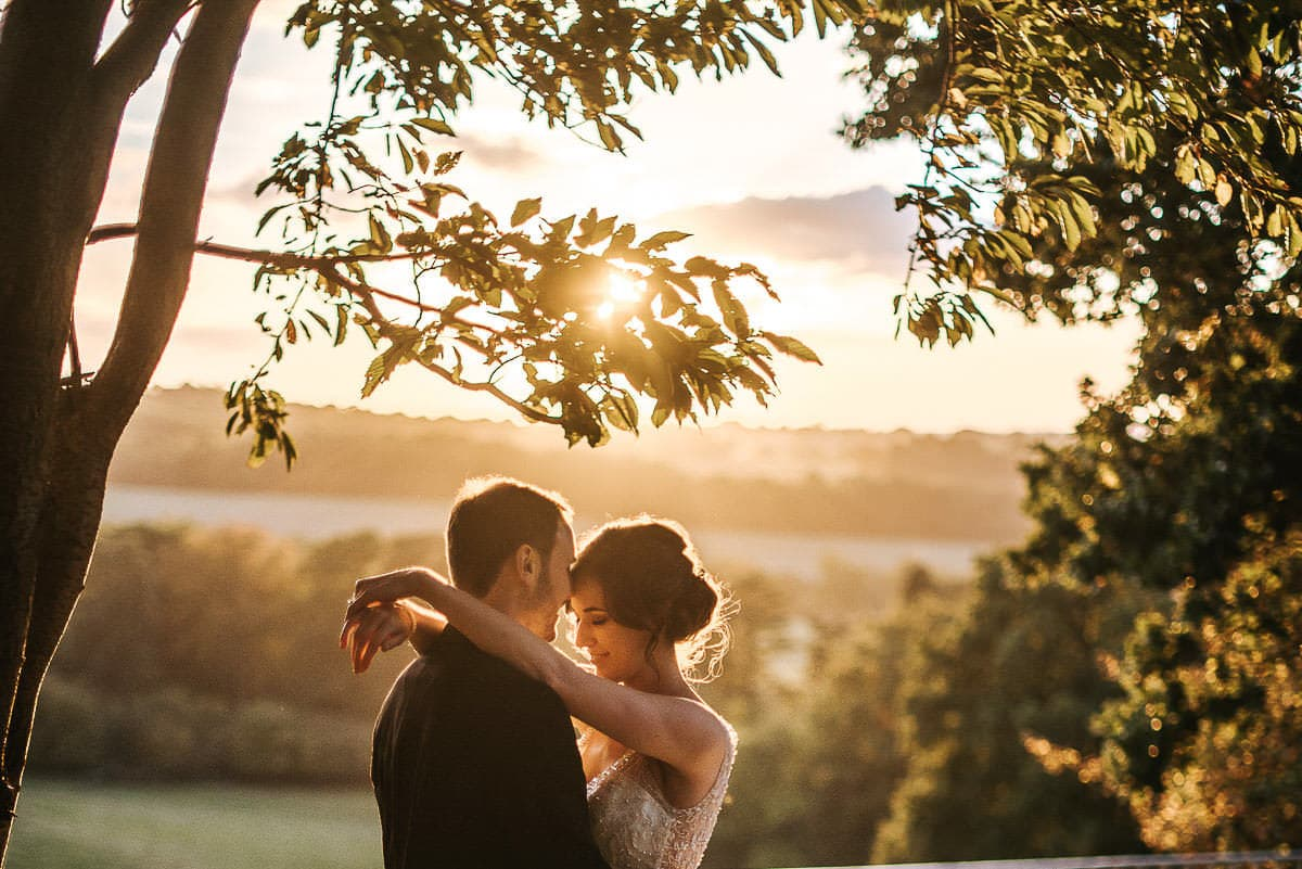 wedding couple in sunset light