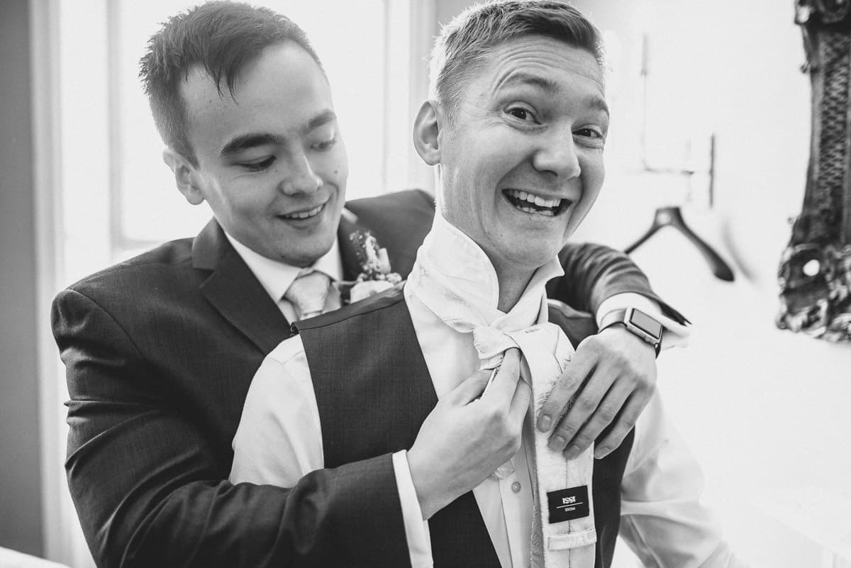boys getting ready at morden hall wedding