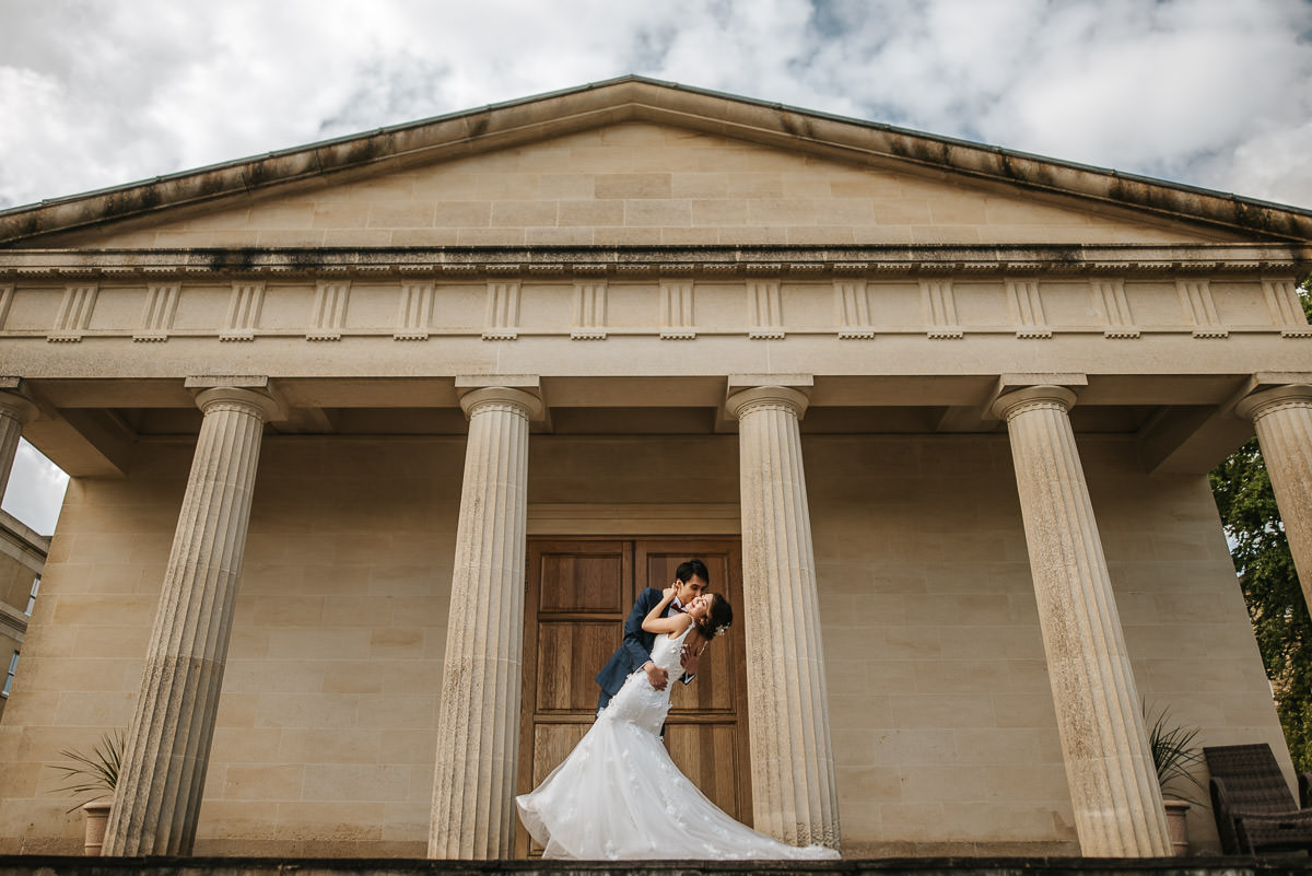 somerset wedding photography couple embracing on the steps