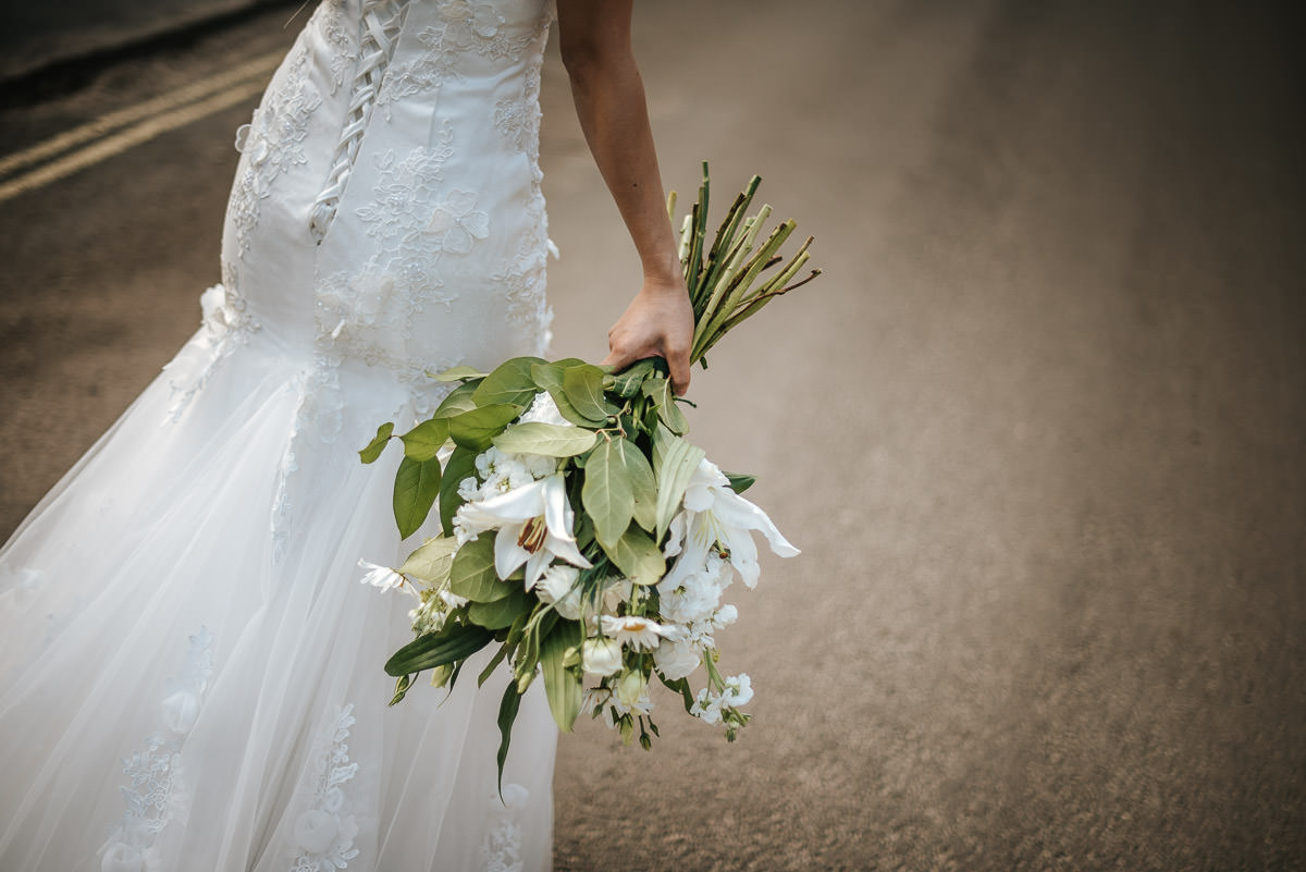 wedding flowers at castle combe