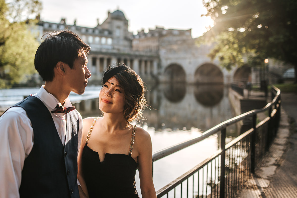 wedding shoot in bath by the river