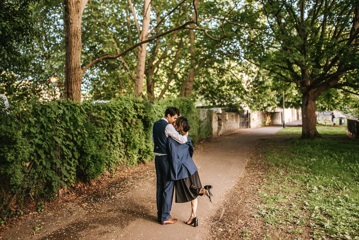 wedding couple shoot in bath strolling by the river