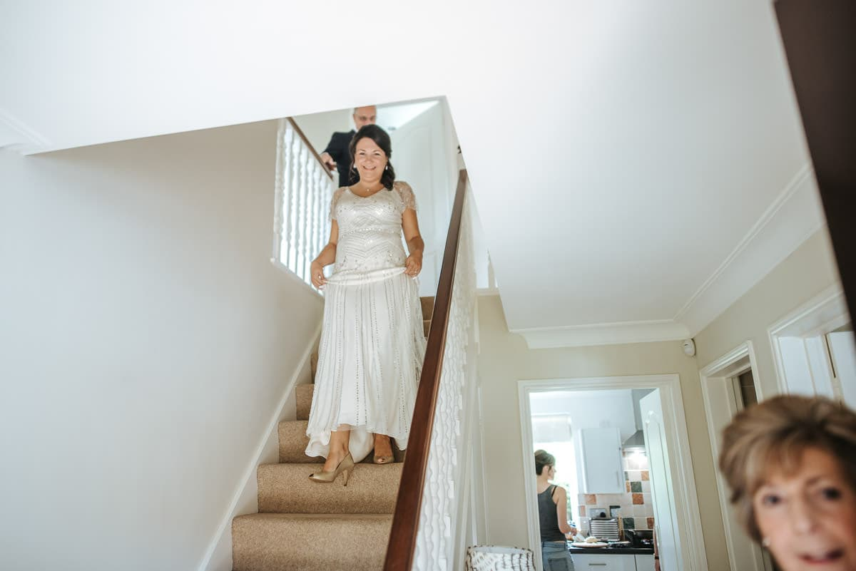getting ready berkshire wedding bride coming down the stairs