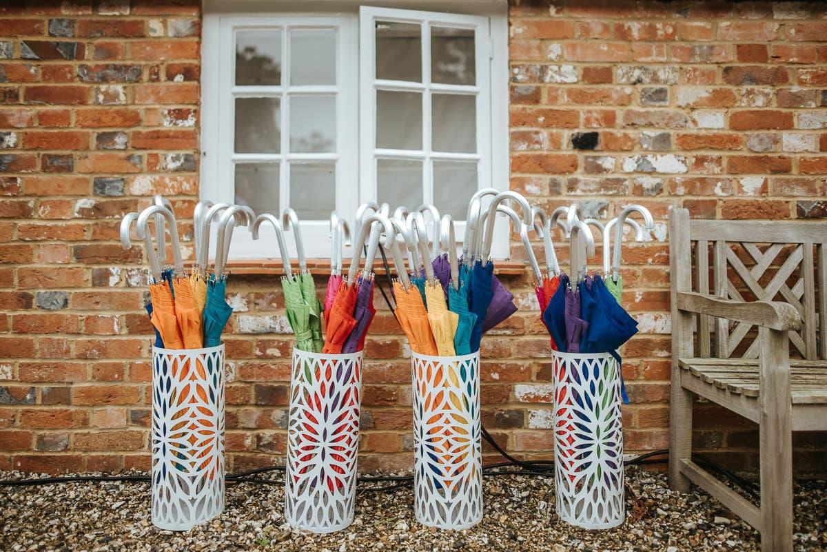secret walled garden berkshire wedding umbrellas