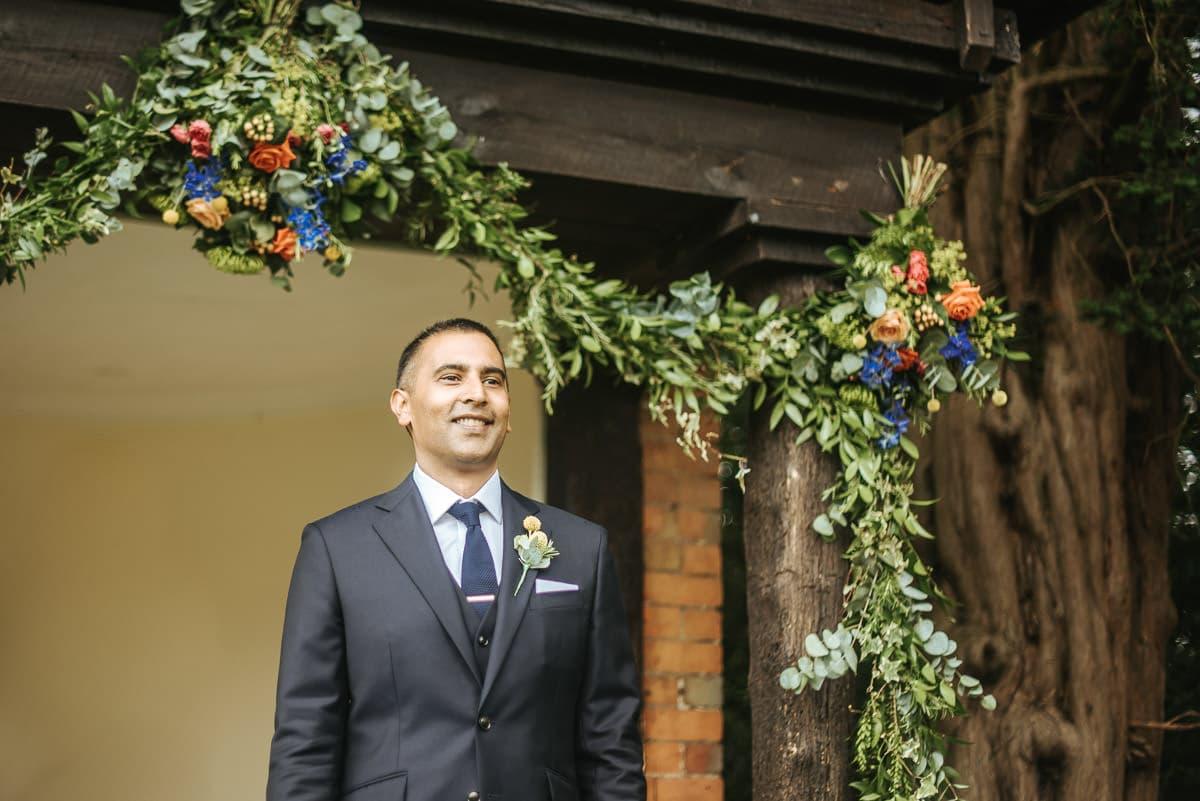 tipi wedding berkshire grooms reaction