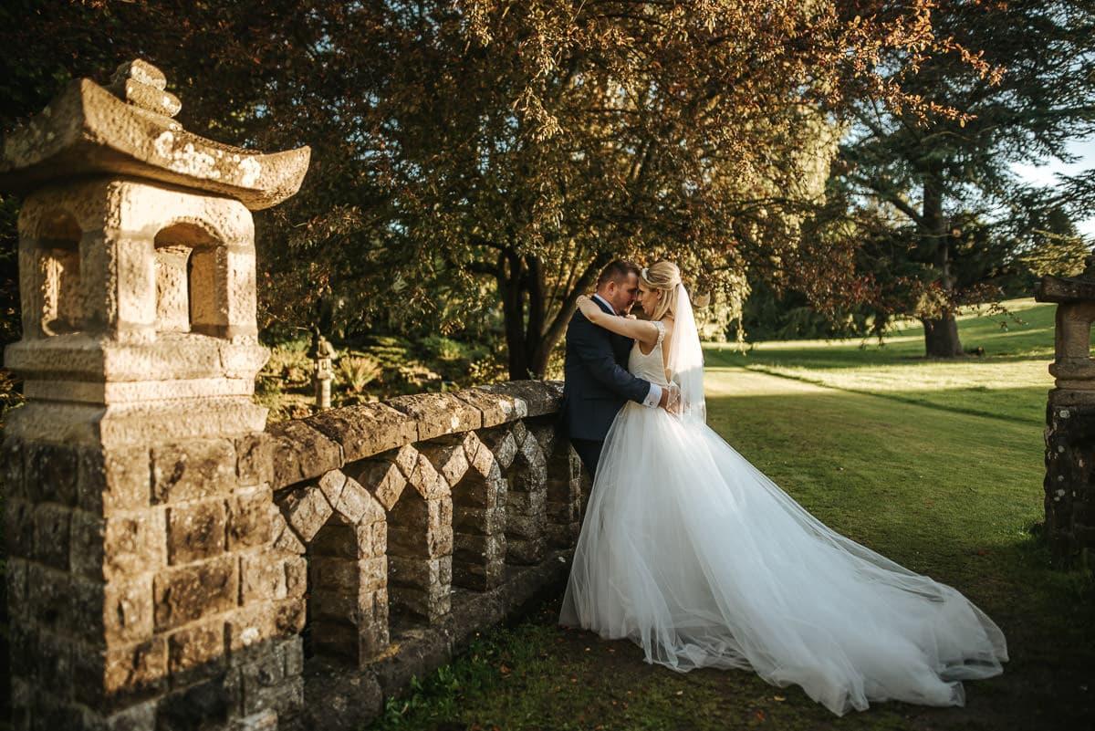 mount ephraim gardens wedding couple on the bridge
