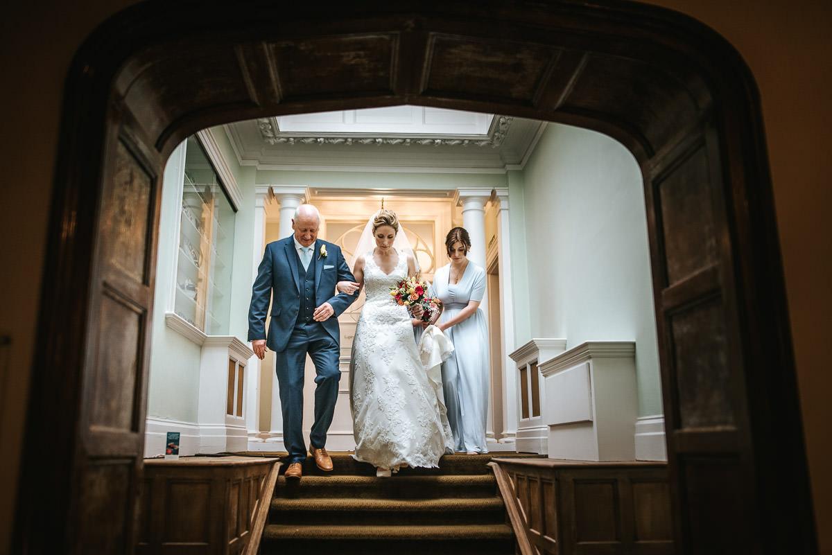 norton park wedding getting ready bride and dad
