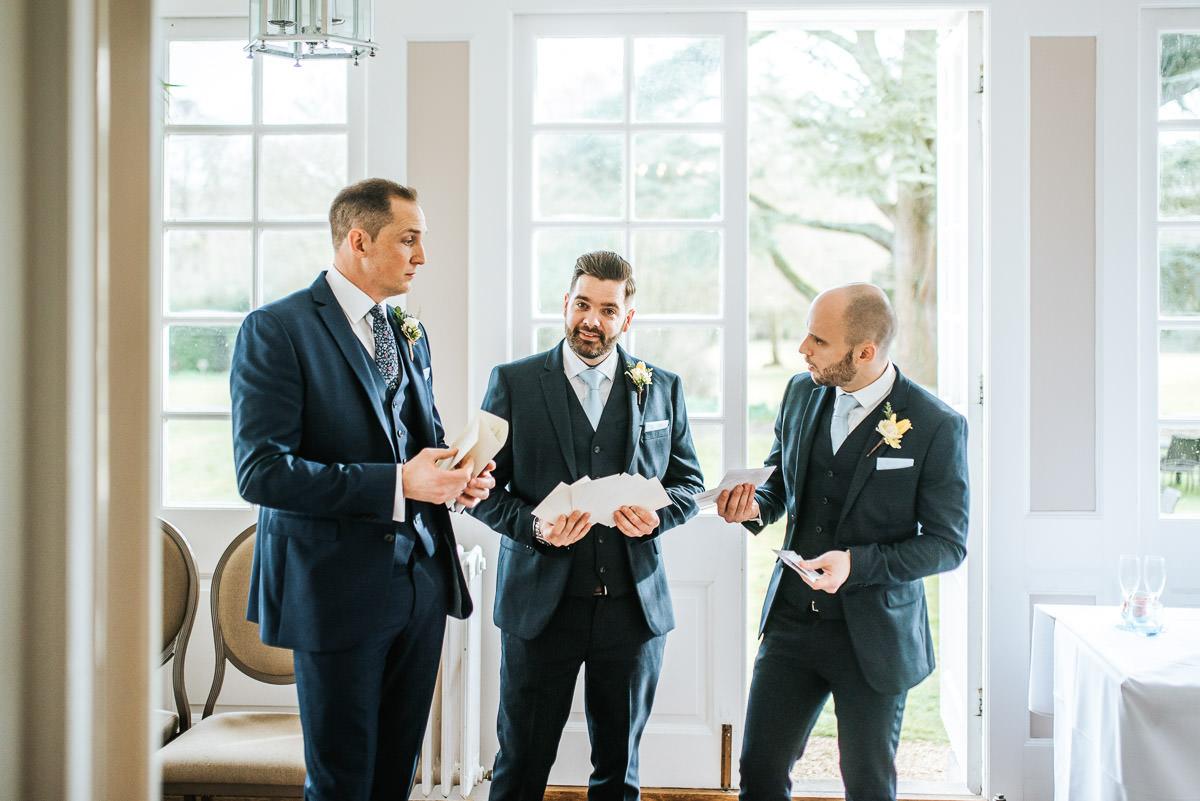 norton park wedding groomsmen rehearsing speech