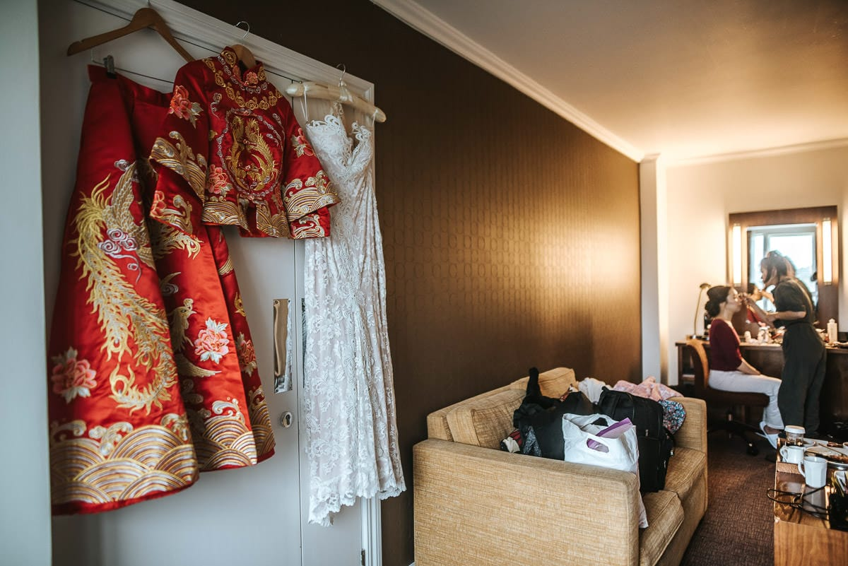 chinese wedding photography london dress hanging