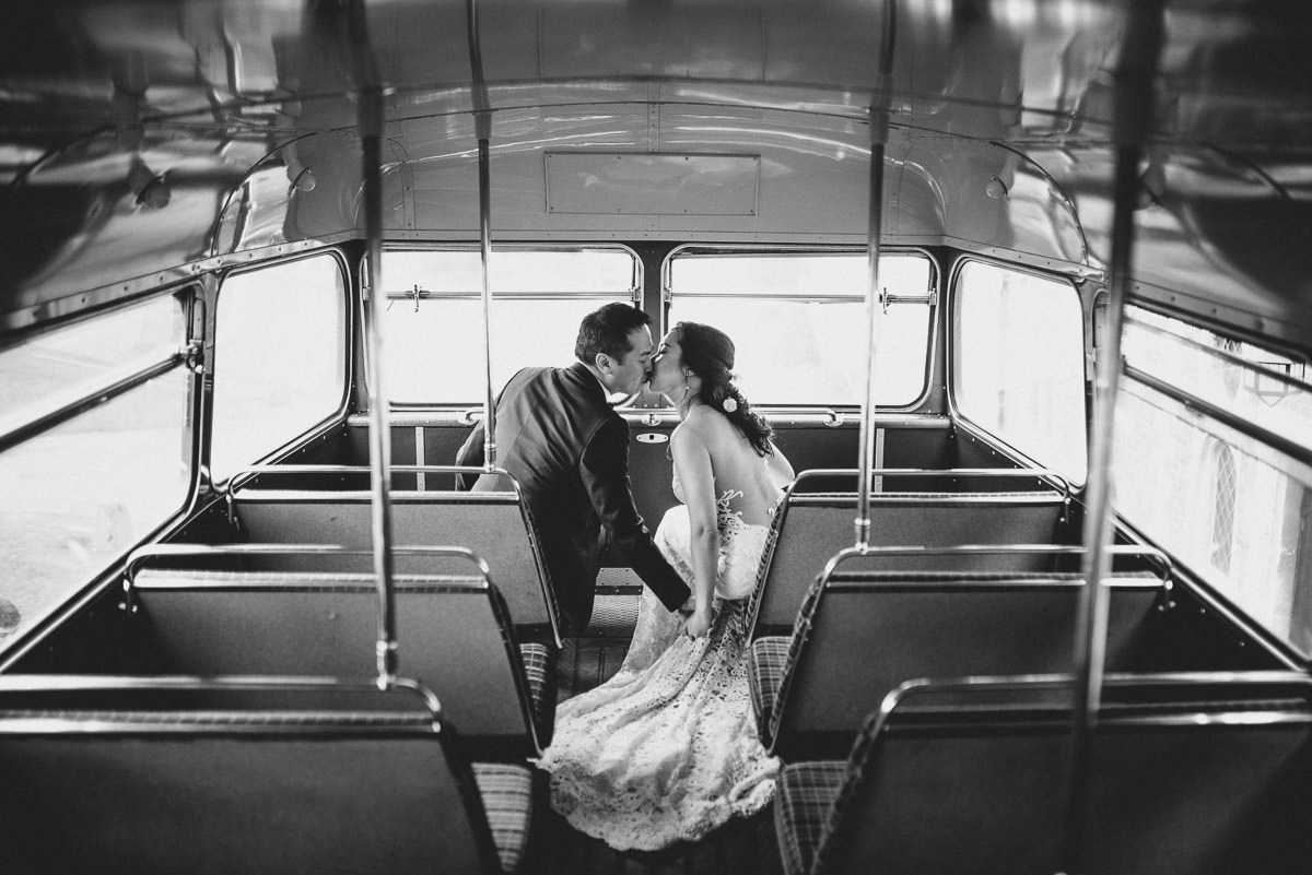 chinese wedding london hall place kissing on the bus
