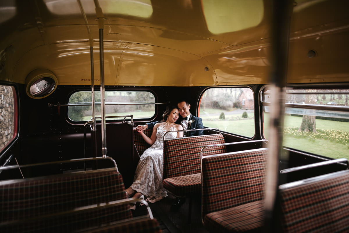 chinese wedding london hall place chilling on the bus
