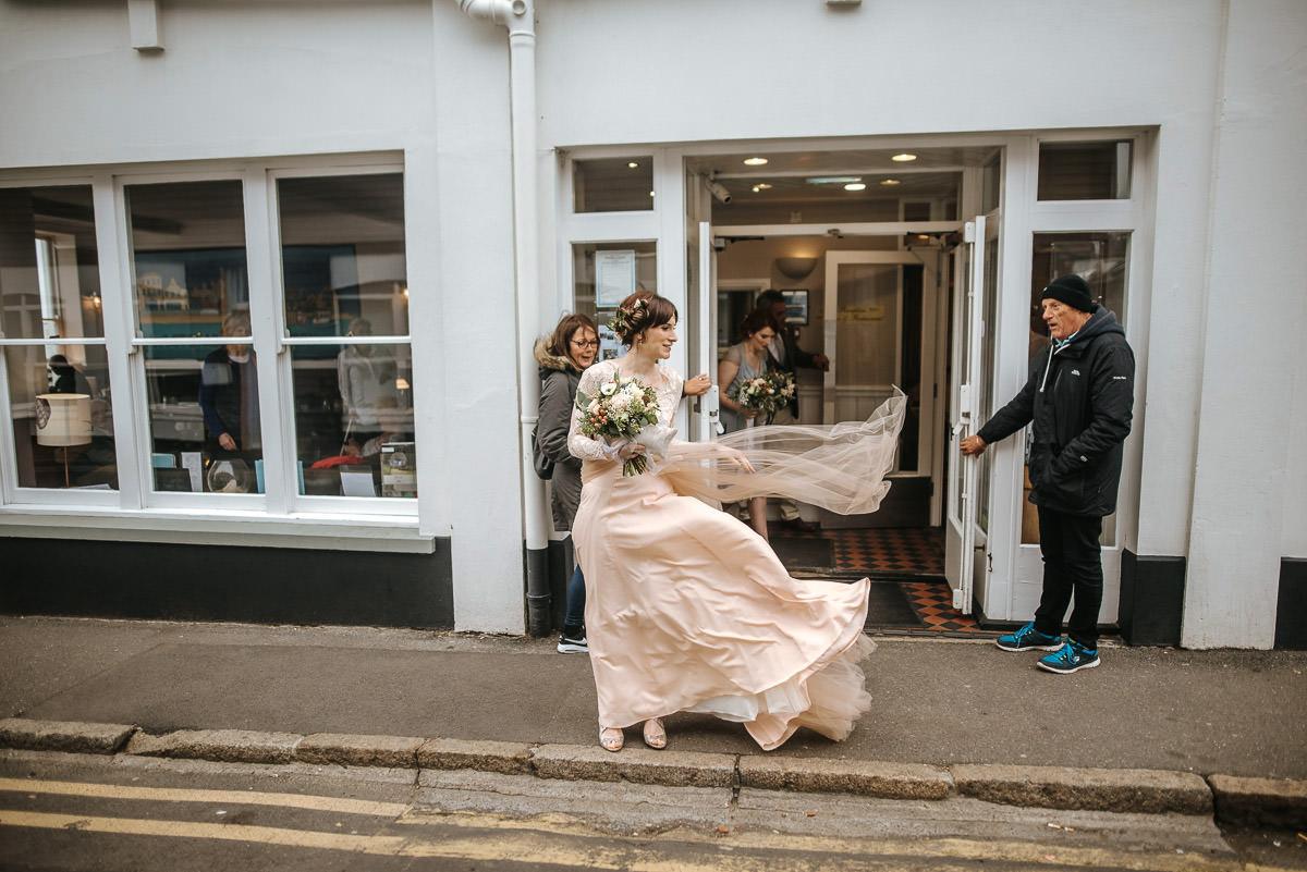 east quay venue wedding bride in the wind