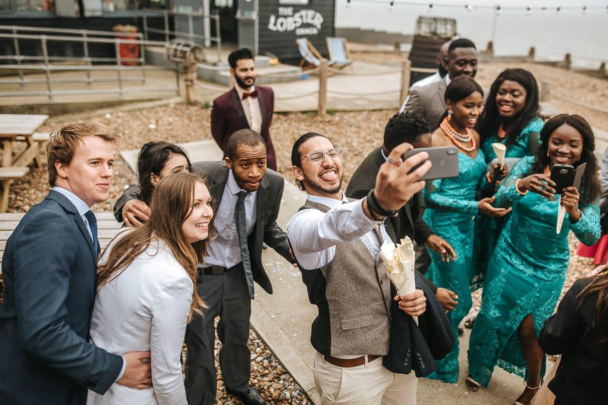 east quay venue wedding selfie