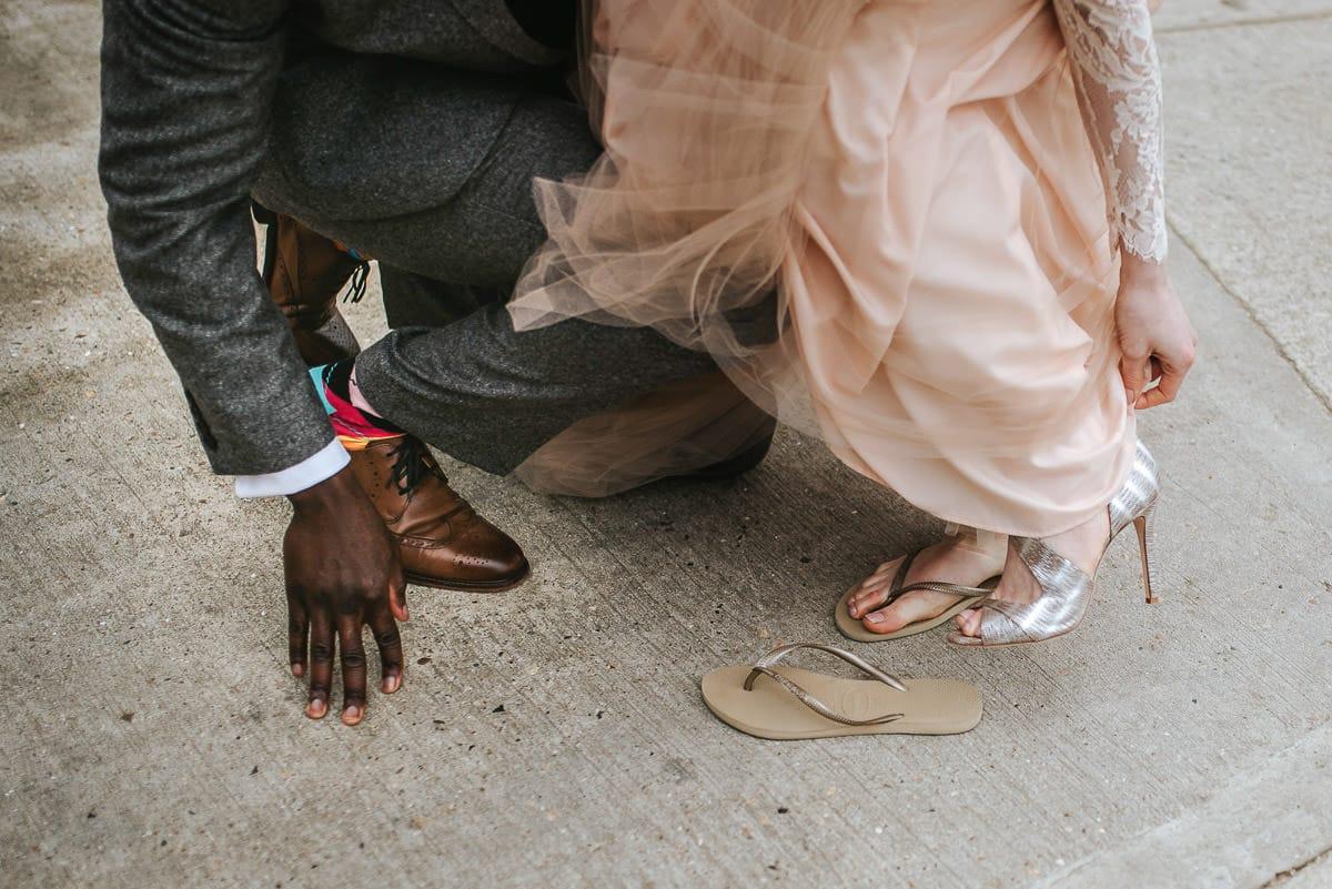east quay venue wedding flip flops on