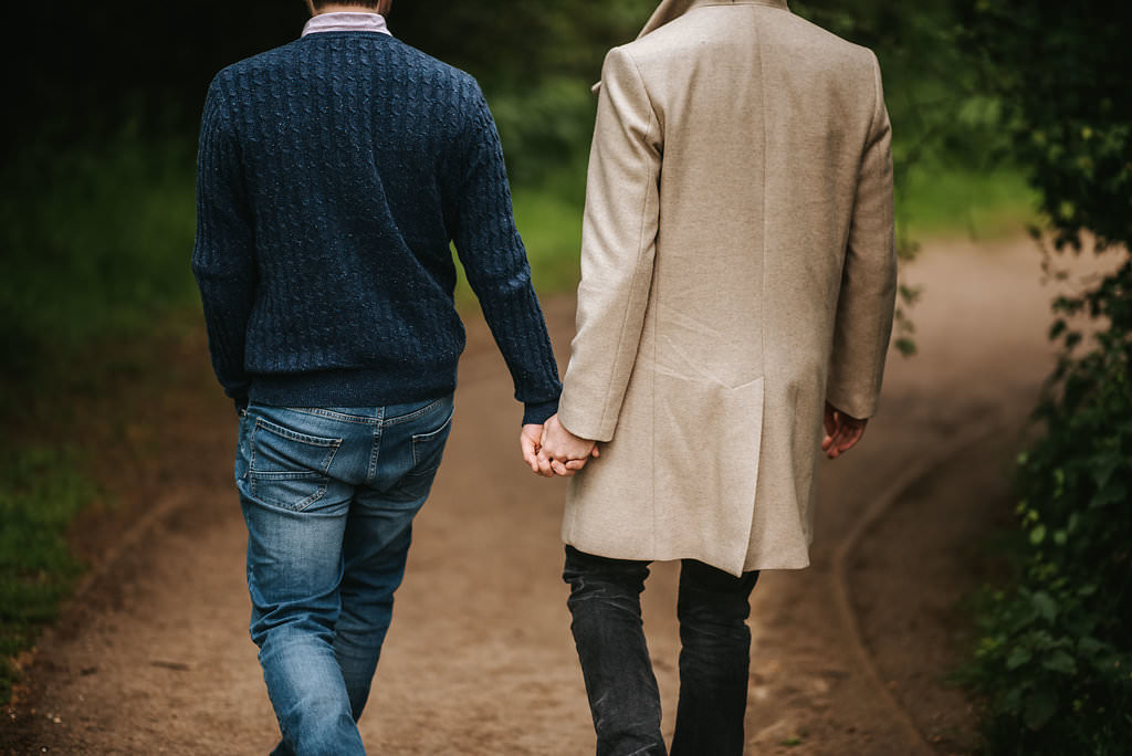 gay wedding photography london holding hands