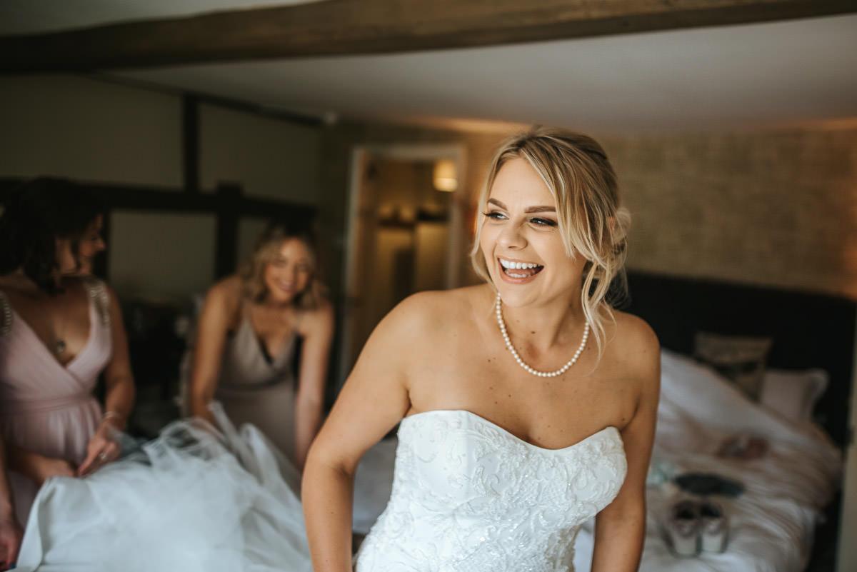 kent wedding photography bride laughing