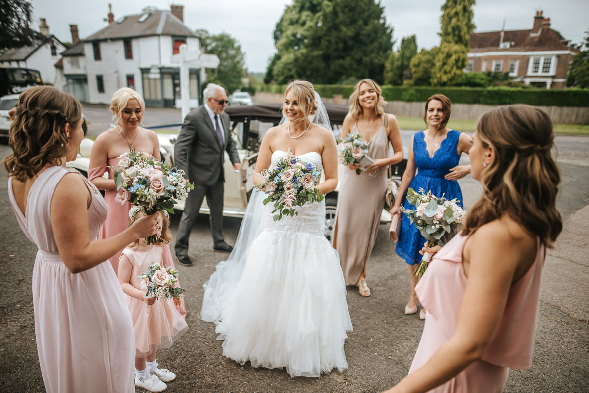 kent wedding photography bride arriving