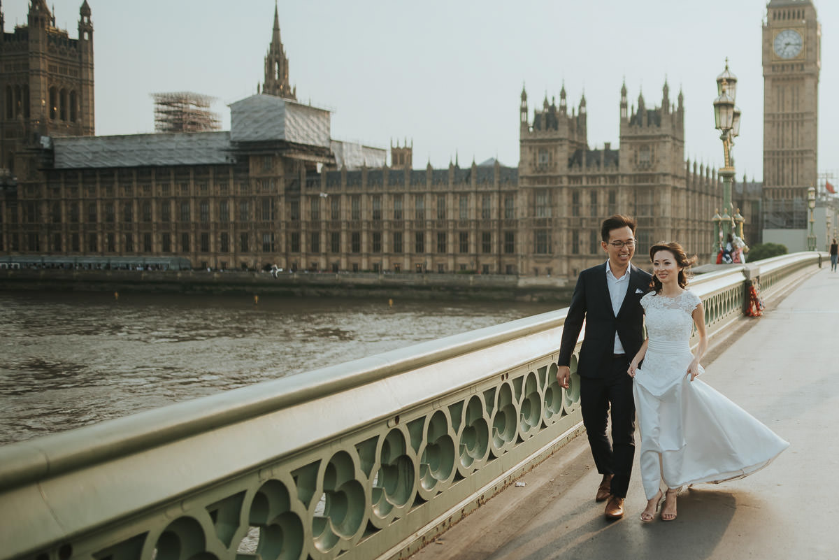 bride and groom during wedding engagement photo shoot by big ben