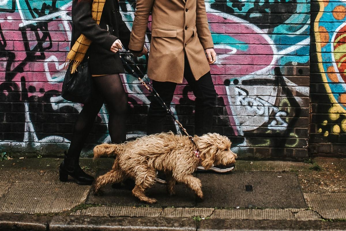 london engagement photography brick lane walking with the dog
