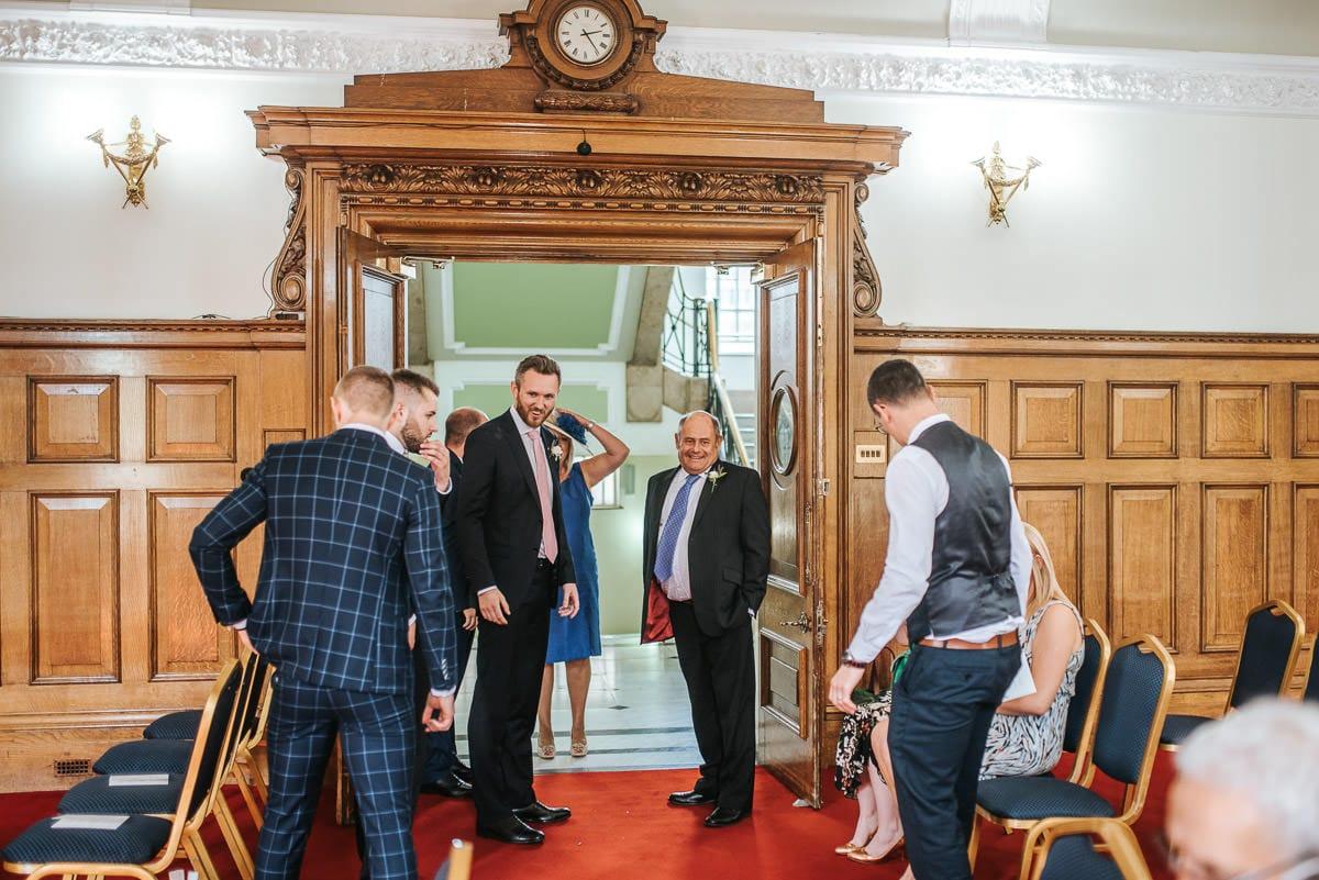 islington town hall wedding groom and father
