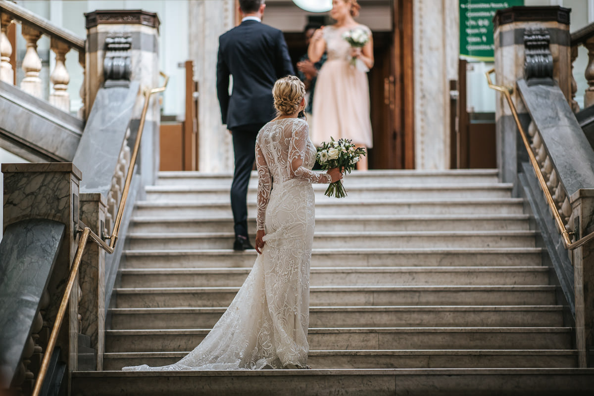 islington town hall wedding bride on the marble stairs