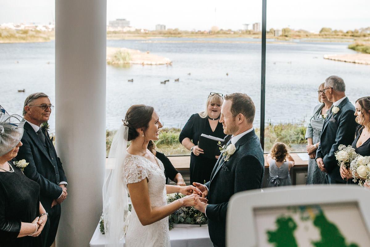 london wetland centre wedding saying vows