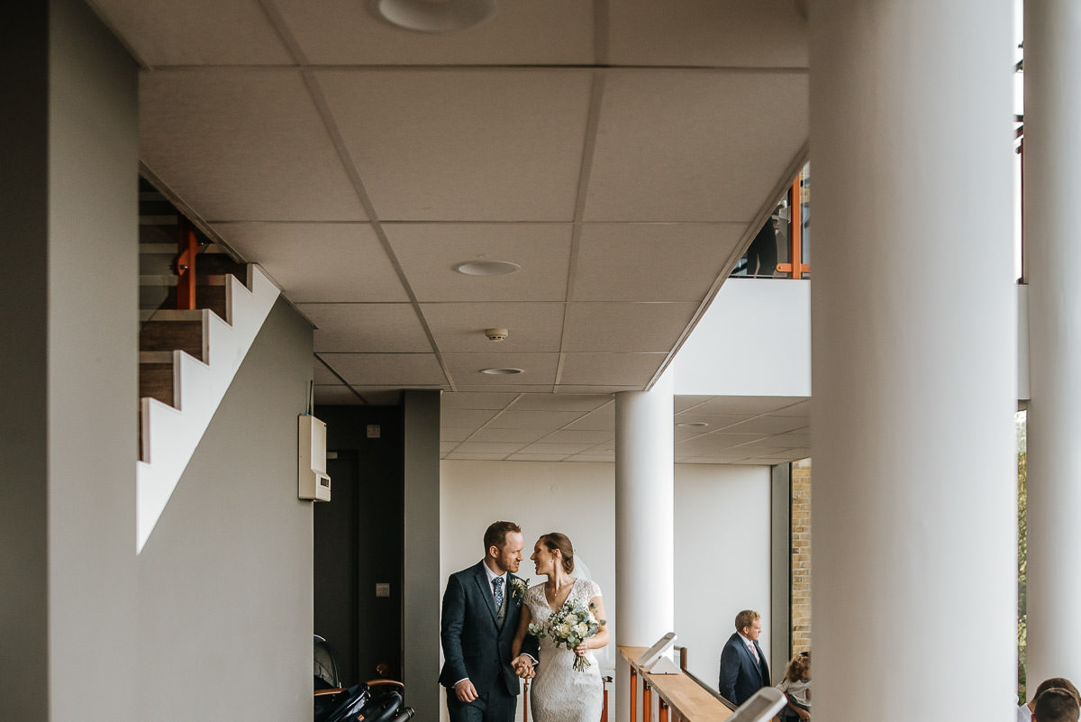 london wetland centre wedding bride and groom walking