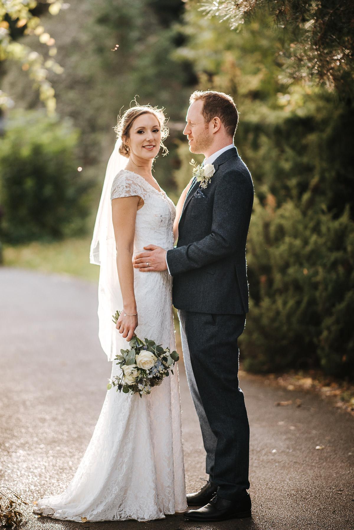 london wetland centre wedding bride and groom standing