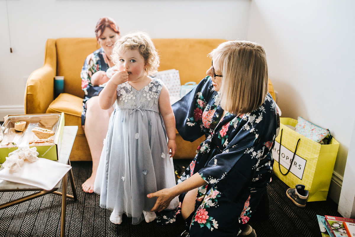 london wetland centre wedding getting ready flower girl dressed