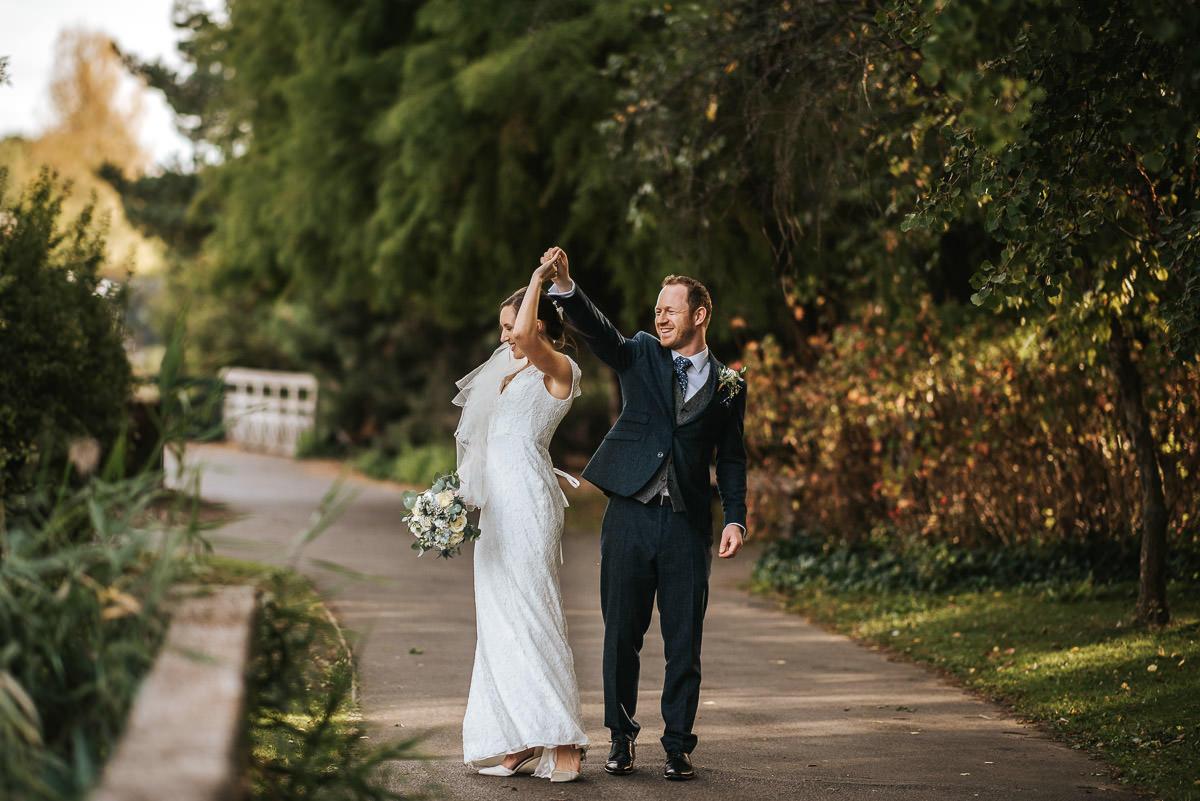 london wetland centre wedding bride and groom dancing