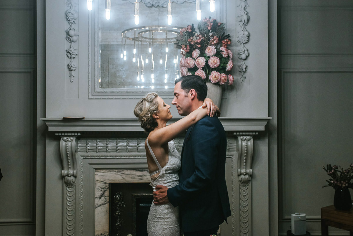 old marylebone wedding ceremony first kiss