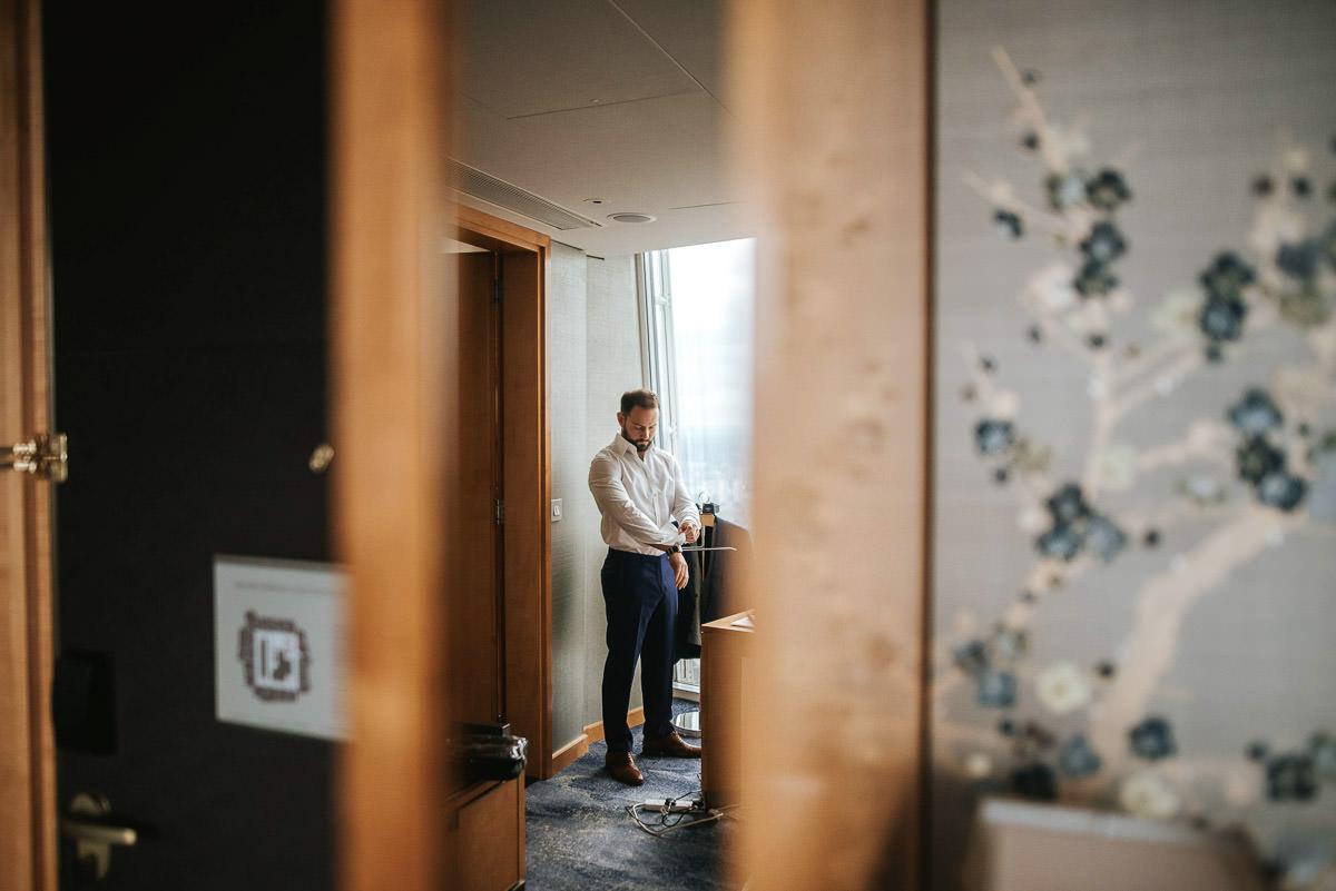 london wedding shrad groom getting ready