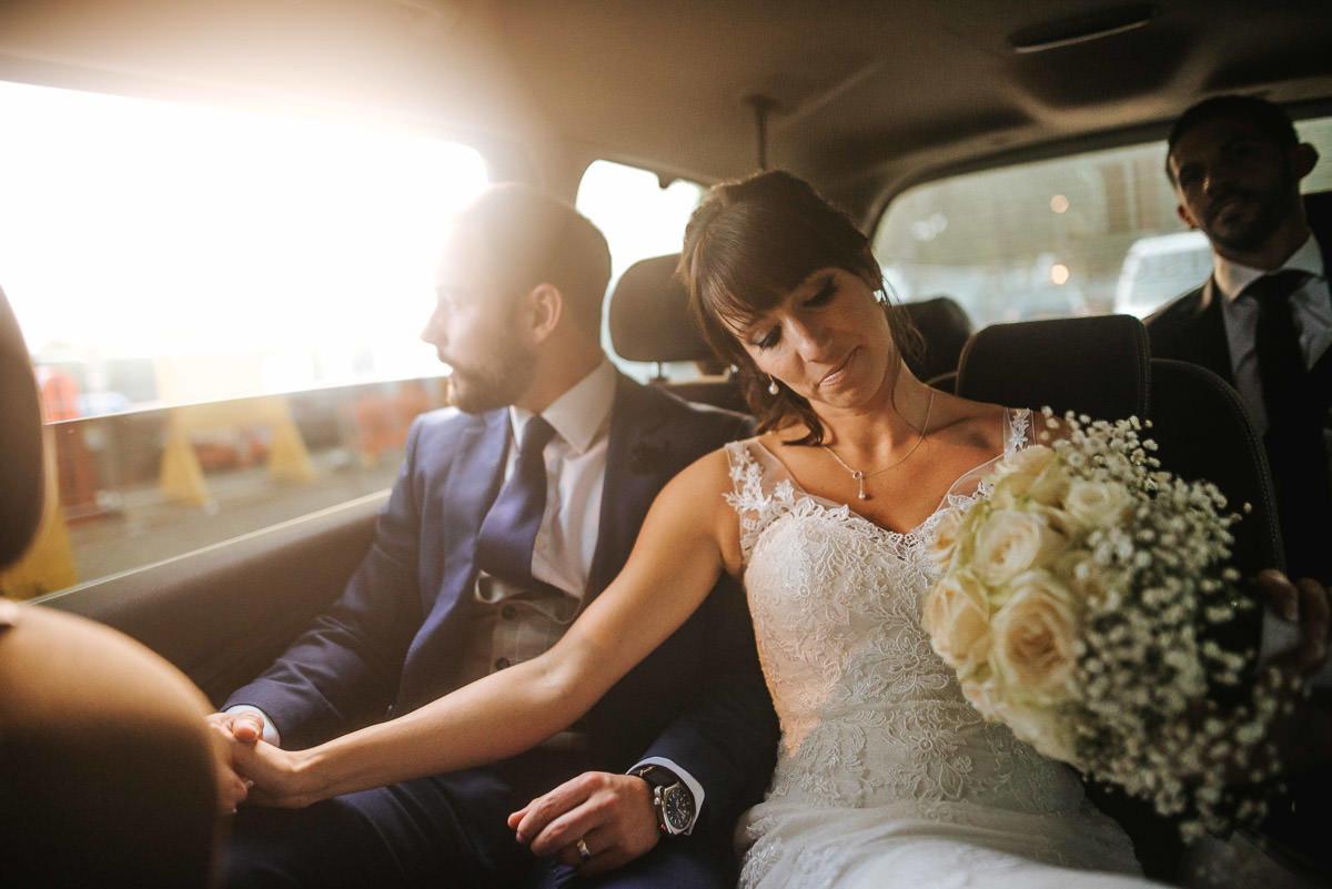 london wedding bride and groom in the car