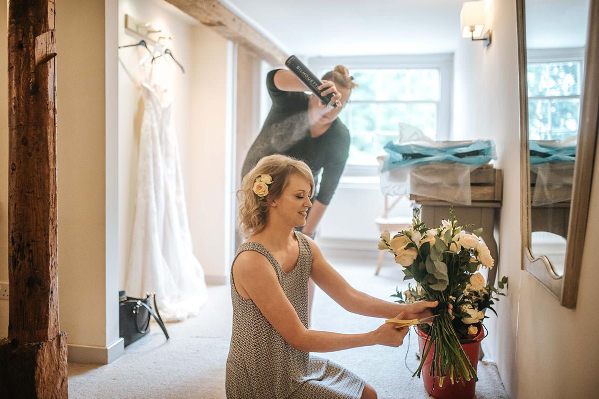 sopley mill wedding bride getting ready