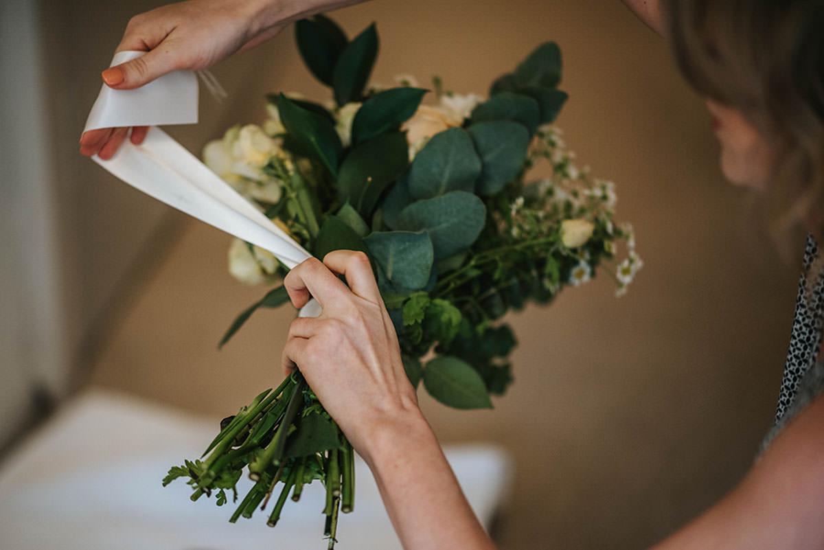 sopley mill wedding getting ready flowers
