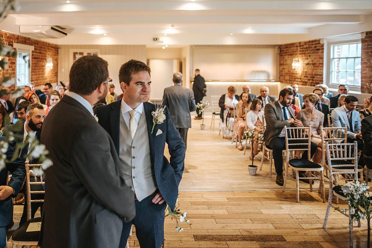 sopley mill wedding ceremony groom waiting