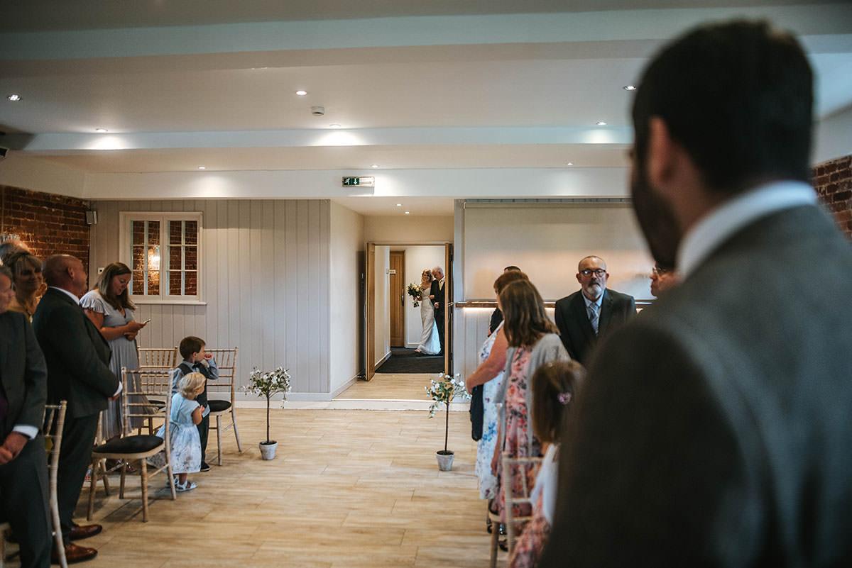 sopley mill wedding ceremony bride coming