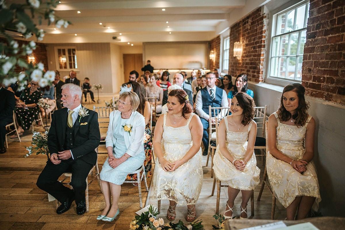 sopley mill wedding ceremony bridesmaids