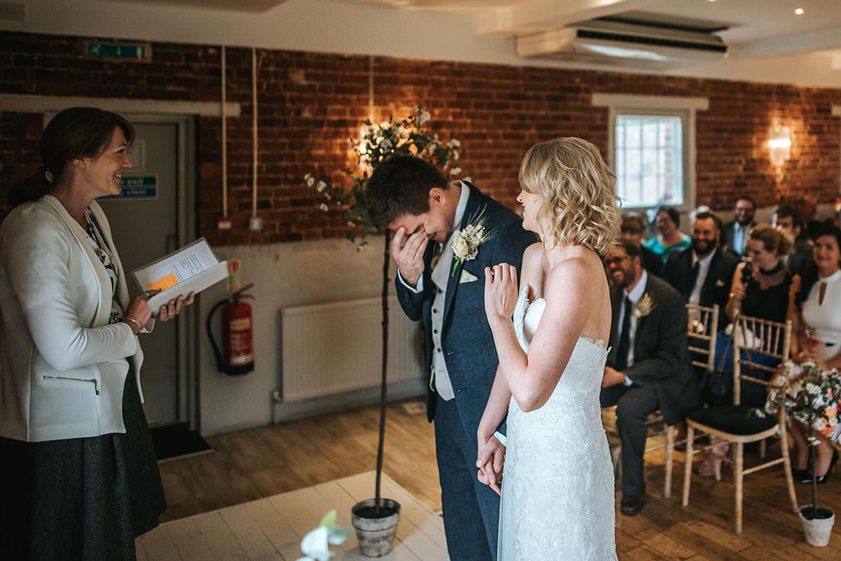 sopley mill wedding ceremony groom crying