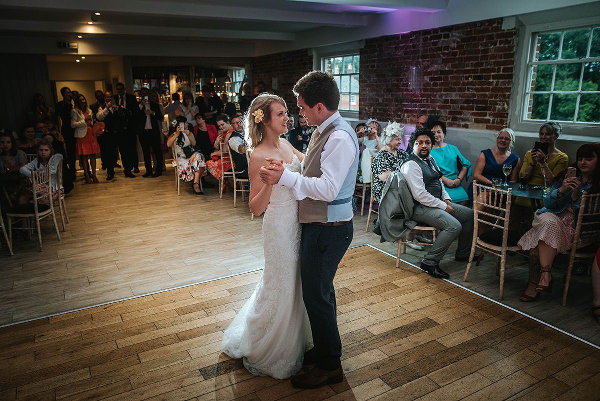 sopley mill wedding first dance by the bride and groom