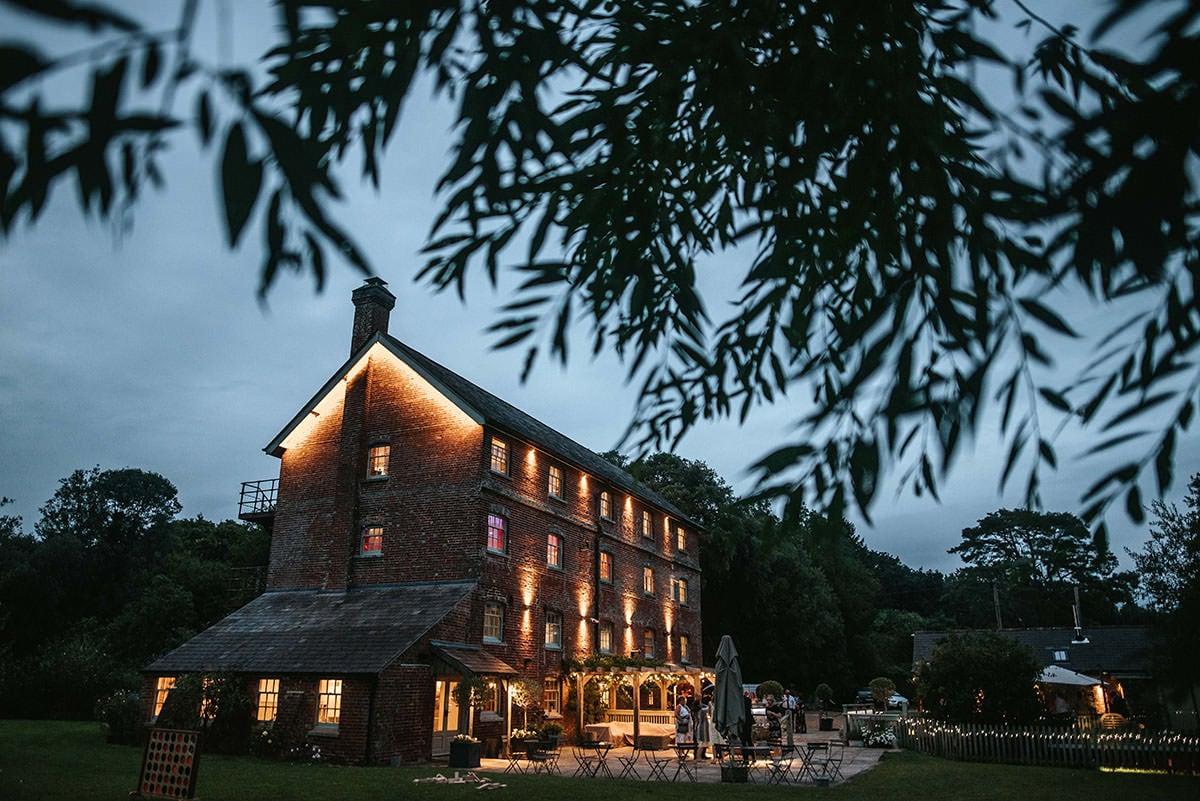 sopley mill wedding venue by night